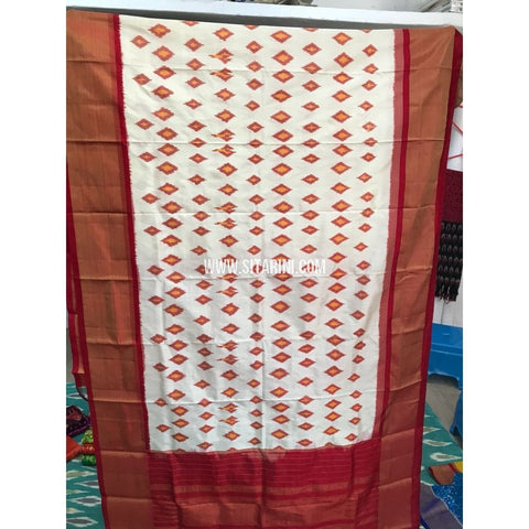 Pochampally Dupatta-Cream and Maroon-Sitarini-PGMHIPD128