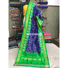 Pochampally Duppata-Blue and Parrot Green-Sitarini-PGMHIPD122