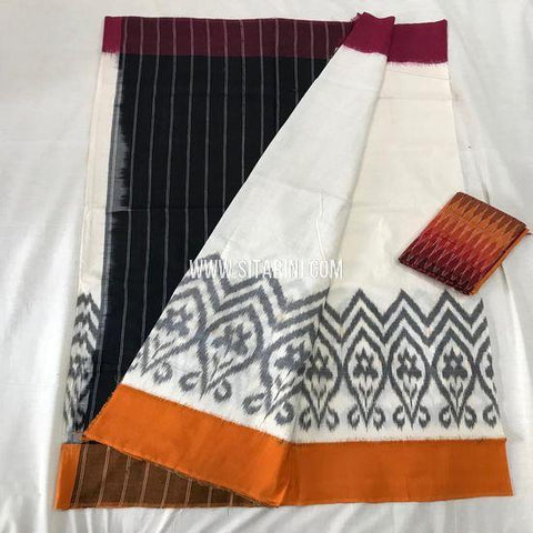 Pochampally Ikat Cotton Saree-Multicolor-Sitarini-SITICS390