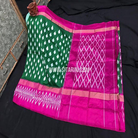 Pochampally Ikat Light Weight Saree-Pattu-Green-Sitarini-SITIPS974