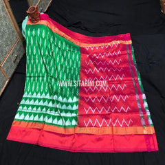 Pochampally Ikat Pattu Light Weight Saree-Green-Sitarini-SITIPS975
