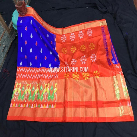 Pochampally Ikat Pattu Saree-Blue-Sitarini-SITIPS886