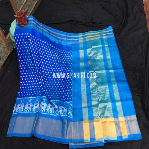 Pochampally Ikat Saree-Pattu-Blue-Sitarini-SITIPS887