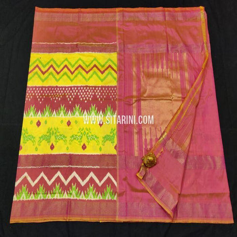 Pochampally Ikat Saree-Pattu-Multicolor-Sitarini-SITIPS864