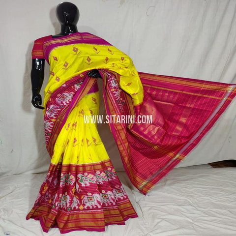 Pochampally Ikat Saree-Pattu-Yellow-Sitarini-SITIPS949