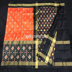 Pochampally Ikat Saree-Silk-Orange-Sitarini-SITIPS814
