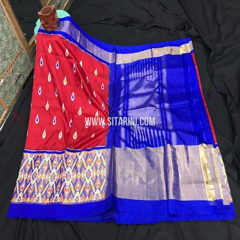 Pochampally Ikat Saree-Silk-Red-Sitarini-SITIPS875