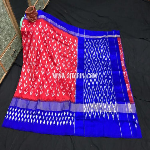 Pochampally Ikat Silk Light Weight Saree-Red-Sitarini-SITIPS989