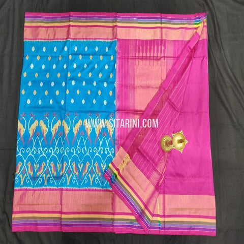 Pochampally Ikat Silk Saree-Blue-Sitarini-SITIPS856