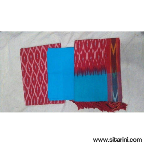 Pochampally Ikkat Cotton Dress Material in Maroon and Sky Blue Color-Sitarini-PGHICDM106
