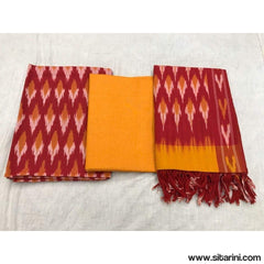 Pochampally Ikkat Cotton Dress Material in Red and Yellow Color-Sitarini-PGHICDM100