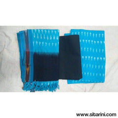 Pochampally Ikkat Cotton Dress Material in Sky Blue and Black Color-Sitarini-PGHICDM109