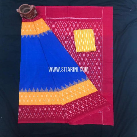 Pochampally Ikkat Cotton Saree-Multicolor-Sitarini-SITICS356