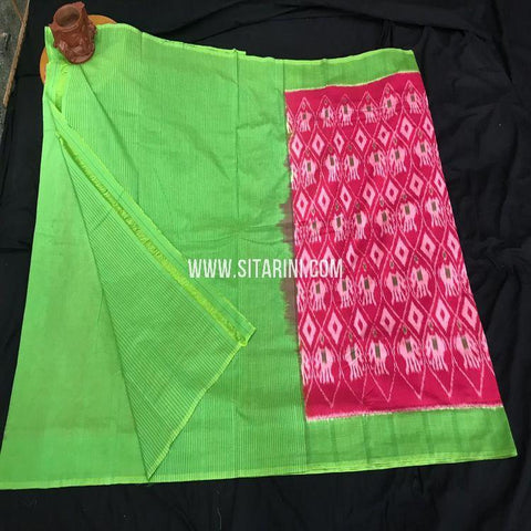 Pochampally Ikkat Cotton Saree-Multicolor-Sitarini-SITICS425