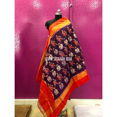 Pochampally Ikkat Dupattas-Dark Purple and Orange-Sitarini-PRRHIPD134