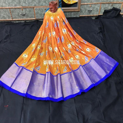 Pochampally Ikkat Lehenga-Pattu-Orange-Sitarini-SITEIL1005