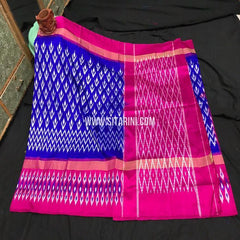 Pochampally Ikkat Light Weight Saree-Pattu-Blue-Sitarini-SITIPS973