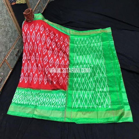 Pochampally Ikkat Light Weight Saree-Silk-Red-Sitarini-SITIPS987