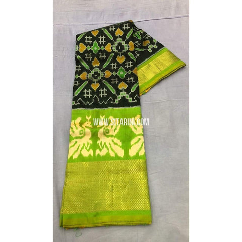 Pochampally Ikkat Pattu Lehenga-Black and Light Green-Sitarini-PRRHIPL100