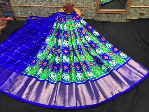 Pochampally Ikkat Pattu Lehenga-Blue and Green-Sitarini-SITEIL1313