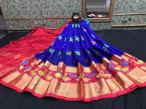 Pochampally Ikkat Pattu Lehenga-Blue and Orange-Sitarini-SITEIL1306
