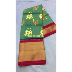 Pochampally Ikkat Pattu Lehenga-Green and Dark Pink-PRRHIPL124