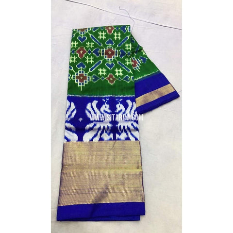 Pochampally Ikkat Pattu Lehenga-Green and Royal Blue-Sitarini-PRRHIPL109