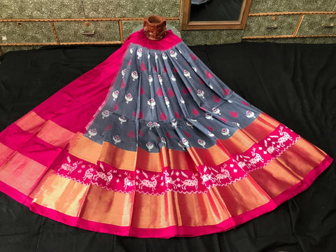 Pochampally Ikkat Pattu Lehenga-Grey and Pink-Sitarini-SITEIL1298