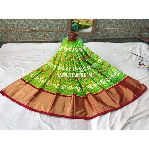 Pochampally Ikkat Pattu Lehenga in Green and Red-Sitarini-PGMHIPL123