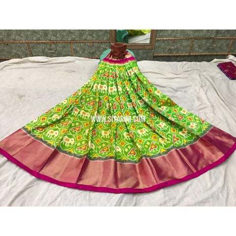 Pochampally Ikkat Pattu Lehenga in Light Green and Pink-Sitarini-PGMHIPL107
