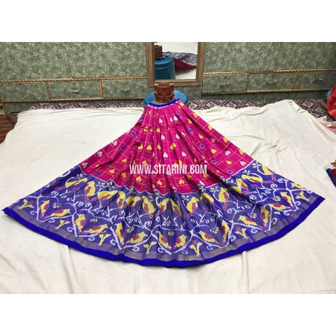 Pochampally Ikkat Pattu Lehenga in Magenta and Royal Blue-Sitarini-PGMHIPL119