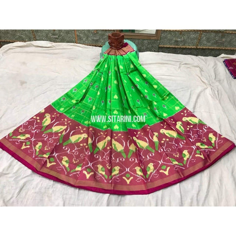 Pochampally Ikkat Pattu Lehenga in Parrot Green and Magenta-Sitarini-PGMHIPL106