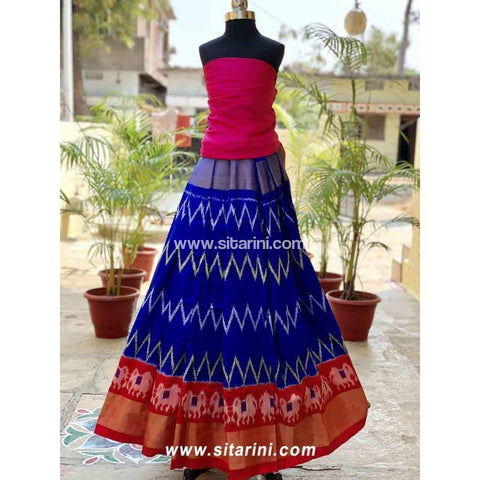 Pochampally Ikkat Pattu Lehenga in Pink and Royal Blue Color-Sitarini