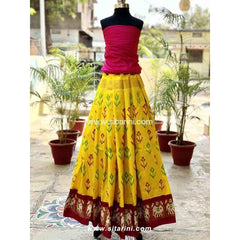 Pochampally Ikkat Pattu Lehenga in Pink and Yellow Color-Sitarini