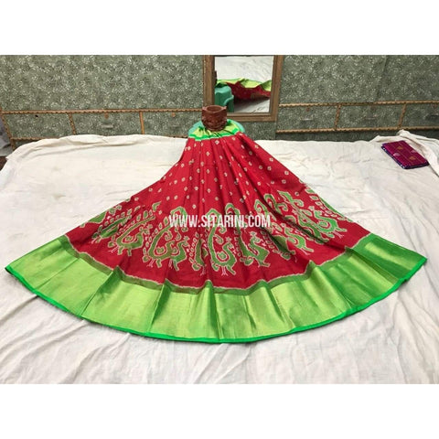 Pochampally Ikkat Pattu Lehenga in Red and Green-Sitarini-PGMHIPL111