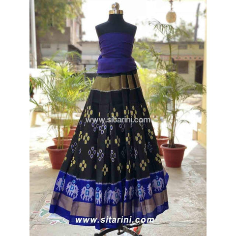 Pochampally Ikkat Pattu Lehenga in Royal Blue and Black Color-Sitarini