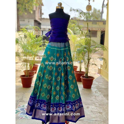 Pochampally Ikkat Pattu Lehenga in Royal Blue and Green Color-Sitarini