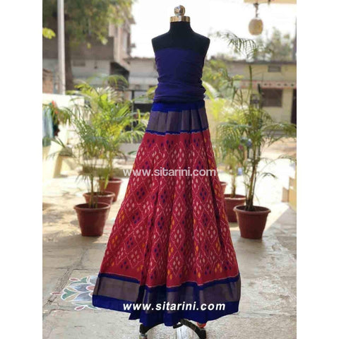 Pochampally Ikkat Pattu Lehenga in Royal Blue and Pink Color-Sitarini