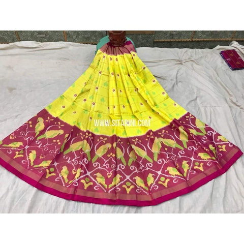 Pochampally Ikkat Pattu Lehenga in Yellow and Magenta-Sitarini-PGMHIPL109