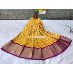 Pochampally Ikkat Pattu Lehenga in Yellow and Magenta-Sitarini-PGMHIPL120