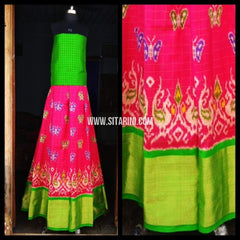 Pochampally Ikkat Pattu Lehenga-Light Green and Light Pink-Sitarini-PRHIPL115