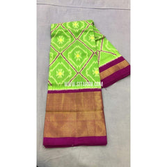 Pochampally Ikkat Pattu Lehenga-Light Green and Magenta-PRRHIPL115