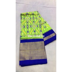 Pochampally Ikkat Pattu Lehenga-Light Green and Royal Blue-PRRHIPL116