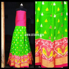 Pochampally Ikkat Pattu Lehenga-Light Pink and Light Green-Sitarini-PRHIPL113