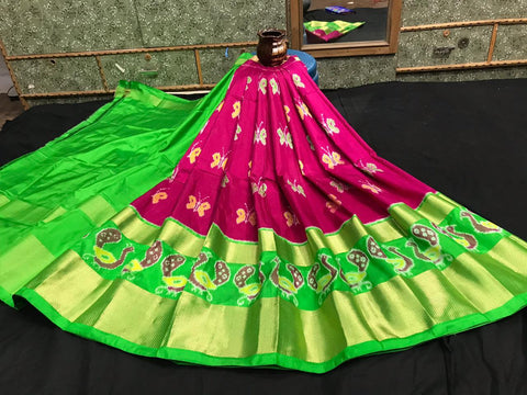 Pochampally Ikkat Pattu Lehenga-Maroon and Green-Sitarini-SITEIL1304