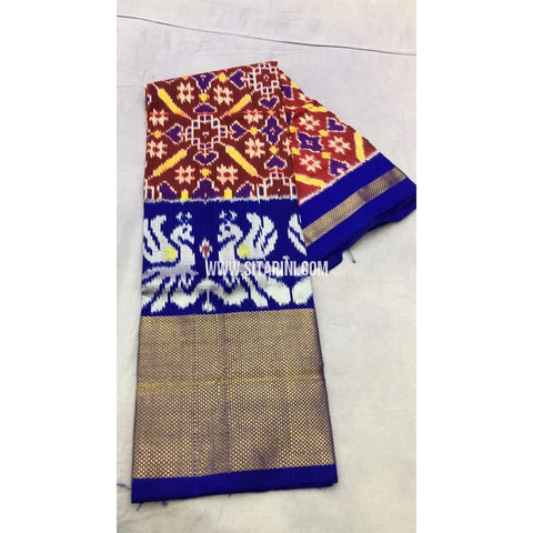 Pochampally Ikkat Pattu Lehenga-Maroon and Royal Blue-Sitarini-PRRHIPL108
