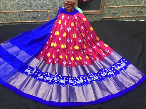 Pochampally Ikkat Pattu Lehenga-Multi-Color-Sitarini-SITEIL1300