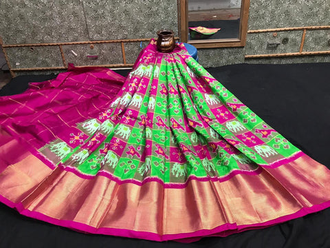 Pochampally Ikkat Pattu Lehenga-Multi-Color-Sitarini-SITEIL1307
