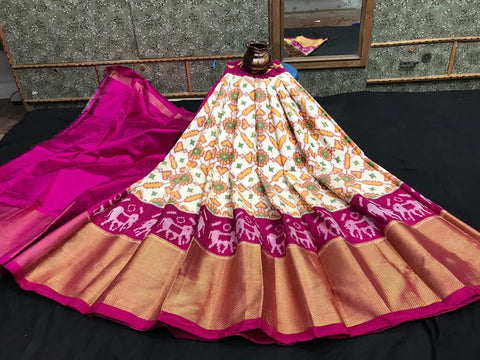 Pochampally Ikkat Pattu Lehenga-Multi-Color-Sitarini-SITEIL1308