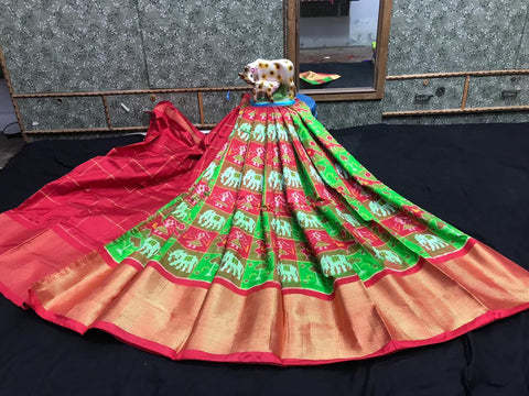 Pochampally Ikkat Pattu Lehenga-Multi-Color-Sitarini-SITEIL1310